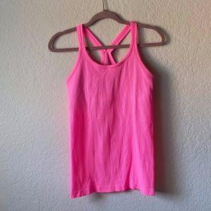 Lululemon Neon Pink Ribbed Power Y Tank Top